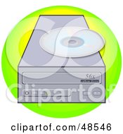 Royalty Free RF Clipart Illustration Of A Disc Resting On Top Of A CD Rom Drive by Prawny