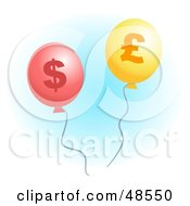 Royalty Free RF Clipart Illustration Of Red And Yellow Pound And Dollar Inflation Balloons