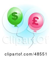 Royalty Free RF Clipart Illustration Of Green And Pink Pound And Dollar Inflation Balloons