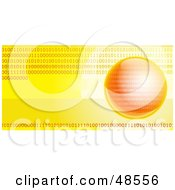 Royalty Free RF Clipart Illustration Of A Yellow And Orange Binary Globe Website Header