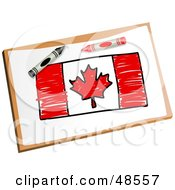 Royalty Free RF Clipart Illustration Of Crayons Resting On A Drawing Of The Maple Leaf Flag