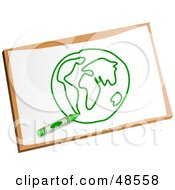 Royalty Free RF Clipart Illustration Of A Green Crayon Resting On A Globe Drawing