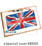 Royalty Free RF Clipart Illustration Of Crayons Resting On A Drawing Of The Union Jack Flag by Prawny