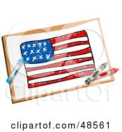 Royalty Free RF Clipart Illustration Of Crayons Resting On A Drawing Of The American Flag by Prawny