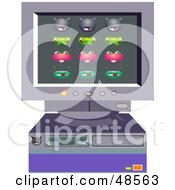 Royalty Free RF Clipart Illustration Of A Retro Desktop Computer With Viruses by Prawny