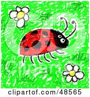 Royalty Free RF Clipart Illustration Of A Childs Drawing Of A Ladybug And Flowers by Prawny
