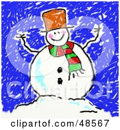 Royalty Free RF Clipart Illustration Of A Childs Drawing Of A Happy Snowman by Prawny