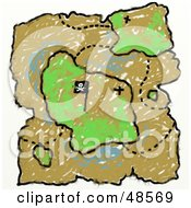 Royalty Free RF Clipart Illustration Of A Childs Drawing Of A Treasure Map