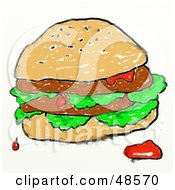 Royalty Free RF Clipart Illustration Of A Childs Drawing Of A Messy Double Burger by Prawny