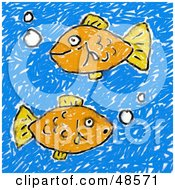Royalty Free RF Clipart Illustration Of A Childs Drawing Of Two Orange Fish by Prawny