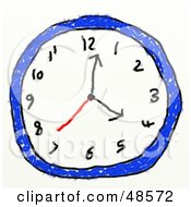 Royalty Free RF Clipart Illustration Of A Childs Drawing Of A Blue Wall Clock