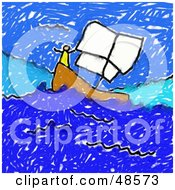 Royalty Free RF Clipart Illustration Of A Childs Drawing Of A Person On A Sailboat