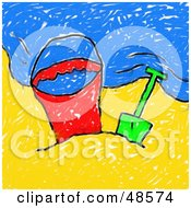 Royalty Free RF Clipart Illustration Of A Childs Drawing Of A Beach Bucket And Shovel On A Beach by Prawny
