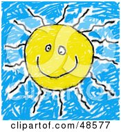 Royalty Free RF Clipart Illustration Of A Childs Drawing Of A Happy Sun by Prawny