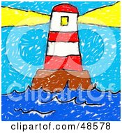 Royalty Free RF Clipart Illustration Of A Childs Drawing Of A Lighthouse Shining Its Beacon by Prawny