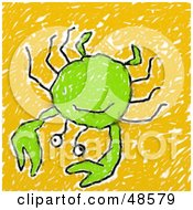 Childs Drawing Of A Green Crab