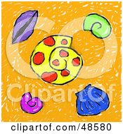 Royalty Free RF Clipart Illustration Of A Childs Drawing Of Sea Shells by Prawny