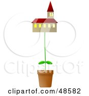 Royalty Free RF Clipart Illustration Of A Potted Plant Growing A Church by Prawny