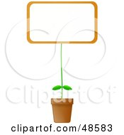 Royalty Free RF Clipart Illustration Of A Blank Billboard Sign Potted Plant by Prawny