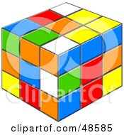 Royalty Free RF Clipart Illustration Of A Colorful Puzzle Cube With White Red Blue Green Orange And Yellow Squares by Prawny