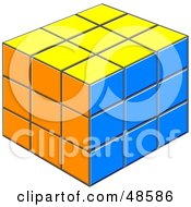Royalty Free RF Clipart Illustration Of A Solved Yellow Orange And Blue Puzzle Cube