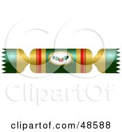 Royalty Free RF Clipart Illustration Of A Gold And Green Christmas Cracker With A Holly Logo