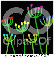 Royalty Free RF Clipart Illustration Of Blossoming Green Stick Plants On Black