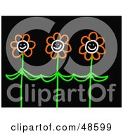 Royalty Free RF Clipart Illustration Of Three Happy Orange Stick Flowers