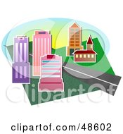 Royalty Free RF Clipart Illustration Of A Road Between City Buildings And A Church