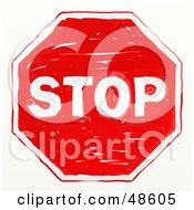 Royalty Free RF Clipart Illustration Of A Red Colored Stop Sign