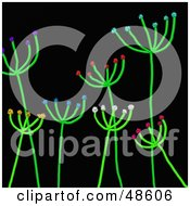 Royalty Free RF Clipart Illustration Of Stick Plants With Colorful Blossoms On Black