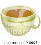 Royalty Free RF Clipart Illustration Of A Beige Coffee Cup Full Of Java by Prawny