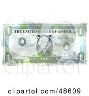 Royalty Free RF Clipart Illustration Of A Grungy Green One Dollar Bill
