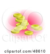 Royalty Free RF Clipart Illustration Of Golden Coins With Pink Shading