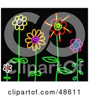 Royalty Free RF Clipart Illustration Of Colorful Stick Flowers In A Garden On Black