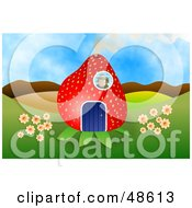 Royalty Free RF Clipart Illustration Of A Person In A Strawberry House Looking Out Through A Window