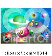 Royalty Free RF Clipart Illustration Of A Spilled Can Of Bug Juice With Beetles In Outer Space by Prawny