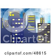 Royalty Free RF Clipart Illustration Of An Urban Blue Skyscraper City Skyline by Prawny