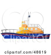 Royalty Free RF Clipart Illustration Of A Blue And Orange Life Rescue Boat by Prawny