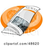 Royalty Free RF Clipart Illustration Of A Newspaper Resting On An Orange Table by Prawny