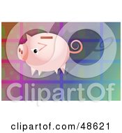 Royalty Free RF Clipart Illustration Of A Pink Piggy Bank On A Colorful Tile Background by Prawny