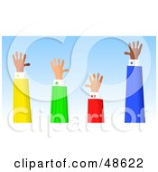 Royalty Free RF Clipart Illustration Of A Row Handy Hands Waving by Prawny