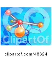 Royalty Free RF Clipart Illustration Of A Colorful Molecule On Blue