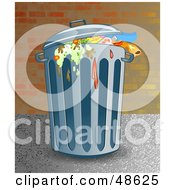 Royalty Free RF Clipart Illustration Of A Nasty Trash Can Full Of Old Food