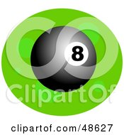 Royalty Free RF Clipart Illustration Of A Shiny 8 Ball On Green