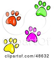 Royalty Free RF Clipart Illustration Of Colorful Sketched Paw Prints