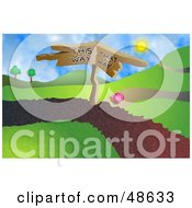 Royalty Free RF Clipart Illustration Of A Snail At A Crossroads On A Path