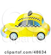 Royalty Free RF Clipart Illustration Of A Retro Yellow Taxi Cab