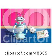 Royalty Free RF Clipart Illustration Of A Happy Robot By A Drawing And Soccer Ball In A Play Room by Prawny