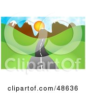 Royalty Free RF Clipart Illustration Of A Road Passing Through Hills With A Mountain Sunset In The Distance by Prawny